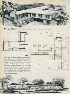 vintage house plans, 1960s homes, mid century homes so much charm