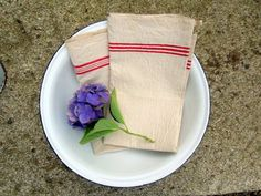 NEVER USED French Heavy Linen Towels - Set of 2, 1920's 1930s, antique, heavy quality, french vintage, hand tea towel, torchons, red stripes  FrenchVintage4You