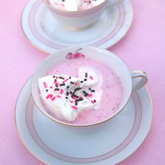 Strawberry Hot Chocolate: use almond milk and omit the extra sugar and food coloring and then it's not so unhealthy...