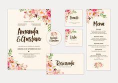 """Identidade Visual para Casamento - Arquivos Digitais (Para Imprimir)    Este kit contém:    - Convite  - Convite Individual  - Lista de presentes  - Tag  - Menu  - Plaquinha """"reservado""""    Consulte-nos para outros itens.    * Envio em alta qualidade: todos os arquivos são enviados por email, em a..."""