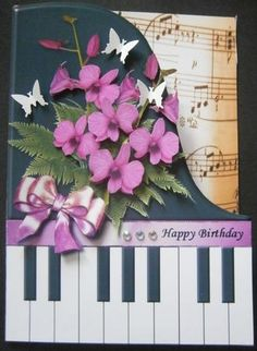 Pink Orchids Piano Shaped Card Mini Kit on Craftsuprint designed by Robyn Cockburn - made by Davina Rundle. http://www.craftsuprint.com/card-making/mini-kits/mini-kits-floral/?&designer=123&r=796943