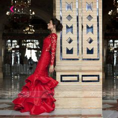 Find More Evening Dresses Information about Celerity Long Sleeve Red Mermaid Evening Dress Sheer Ruffles Lace Long Prom Dresses Elegant Gowns Avondjurk 2016 SA185,High Quality dress newspaper,China dress frill Suppliers, Cheap dress colors from XCOS Wedding Dresses Co.,Ltd on Aliexpress.com