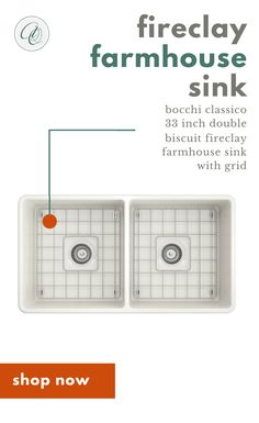 Bocchi Classico Biscuit Double Bowl Fireclay Farmhouse Sink W/ Grid Fireclay Farmhouse Sink, Fireclay Sink, Farmhouse Sink Kitchen, Country Farmhouse Decor, Country Kitchens, Kitchen Cabinet Remodel, Kitchen Sink Faucets, Double Bowl Kitchen Sink, Kitchen And Bath