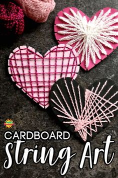 Cardboard Heart String Art - - Cardboard Heart String Art Valentine's This cardboard heart project introduces kids to making string art designs without the use of wood, nails or tacks. All you need is a piece of cardboard and some string or fine yarn. Arts And Crafts For Adults, Easy Arts And Crafts, Winter Crafts For Kids, Arts And Crafts Projects, Diy Crafts, Teen Crafts, Summer Crafts, Wood Crafts, String Art Heart
