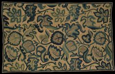 Curtain, English, unknown maker. Linen and cotton twill, embroidered with crewel wool, 1660-1700.   (V)