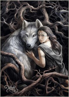 Anne Stokes --- fantasy artwork - dire wolf and girl in forest -- Artwork Lobo, Wolf Artwork, Fantasy Artwork, Wolves And Women, Fantasy Kunst, Anne Stokes, Fantasy Wolf, Fantasy Girl, Dark Fantasy