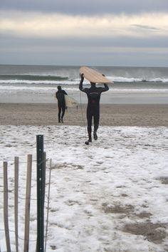 Winter surfing in Narragansett, RI