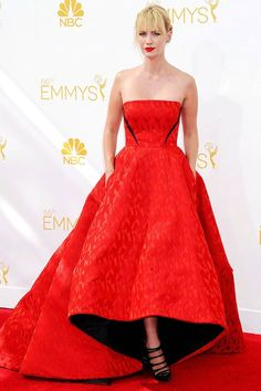 January Jones in a Prabal Gurung red strapless gown - The Emmy Awards 2014