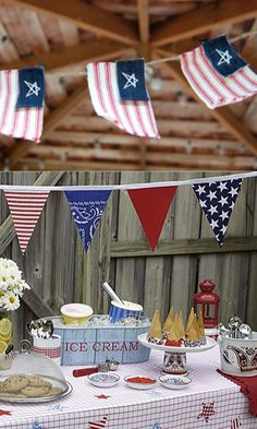 Use rw bunting -- don't manipulate an actual US flag into shapes that violate US flag etiquette.