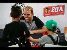Blackhawks star Patrick Kane surprises kids at a youth hockey camp in Chicago. Youth Hockey, Youth Camp, Patrick Kane, Chicago Blackhawks, Nhl, Olympics, Camping, Baseball Cards
