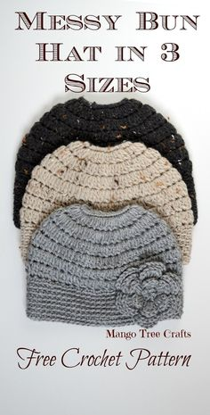"Messy Bun Hat Crochet Pattern Materials used: ⦁ Hair tie about 2"" in diameter ⦁ Worsted weight yarn (I used Bernat Wool-Up ..."