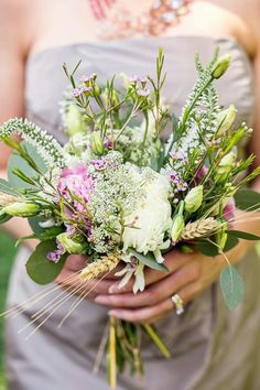 Beautiful Hand Tied Bridesmaid's Bouquet Arranged With: White, Pink, Lavender, Green Florals & Foliage