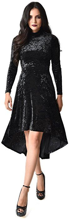 58732a4328 Black Crushed Velvet Long Sleeved High Low Flare Dress at Amazon Women s  Clothing store