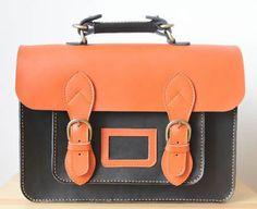 Image of Handmade Genuine Leather Satchel / Messenger Bag / Backpack - Black with Orange(l4)
