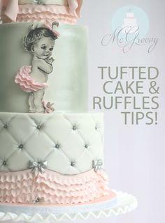 Baby girl shower cake! Vintage, ruffles, pink cake!