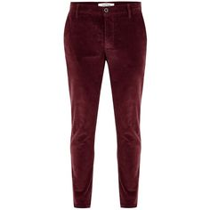 TOPMAN Burgundy Skinny Corduroy Trousers ($47) ❤ liked on Polyvore featuring men's fashion, men's clothing, men's pants, men's casual pants, red, mens corduroy pants, mens burgundy corduroy pants, mens burgundy pants, mens skinny fit dress pants and mens skinny pants