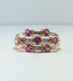 Triple Band Ruby Ring / Gold and Ruby ring  by SusansEstateJewelry