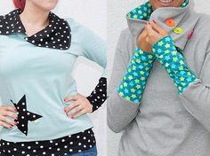 DIY-Anleitung: Pullover mit verschiedenen Kragenvarianten und langen Armbündchen nähen via DaWanda.com