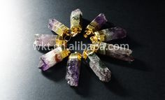 WT-P419 Gold electroplated stone amethyst pendants, fashion cube shape amethyst pendants by WKTjewelry on Etsy