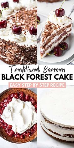 Black Forest Cake is a traditional German dessert made with chocolate sponge cake layers filled with whipped cream and cherries. This simple cake recipe is completely made from scratch and perfect for special occasions! Easy Cake Recipes, Easy Desserts, Baking Recipes, Delicious Desserts, Dessert Simple, Japanese Sweets, Japanese Cake, German Black Forest Cake, Black Forest Cake Germany