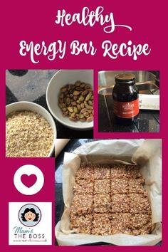 Homemade Energy bar recipe - Mum's the Boss A lovely protein packed energy bar with oats, nuts and dried fruit that you can make at home. this is just yummy. Like a lot of people I am trying to reduce my sugar intake right now. Healthy Bars, Healthy Snacks, Healthy Eating, Healthy Recipes, Real Food Recipes, Yummy Food, Drink Recipes, Meal Prep Plans, Energy Bars