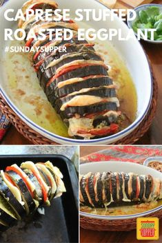 Caprese Stuffed Roasted Eggplant #SundaySupper