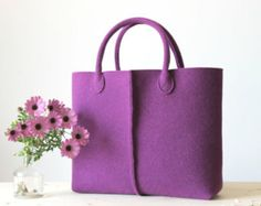 Elegant and Casual Felt Bag from Italy Tote Bag Felted by Lefrac