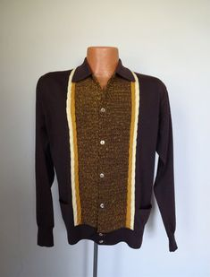 Wool Knit Shirt Men's Small Cable Knit Brown by MDMvintage Men's Clothing, Vintage Clothing, Vintage Outfits, Korean Fashion Men, Men's Fashion, Mens Pleated Trousers, 1950s Shirts, 60s Style, Men's Vintage