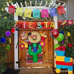 Let's get this fiesta started! Deck out your Cinco de Mayo party entrance, Mexico style. Mexican Birthday Parties, Mexican Fiesta Party, Fiesta Theme Party, Mexican Colors, Fiesta Colors, Thinking Day, Party Time, Party Ideas, Hanging Decorations