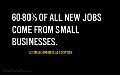 60-80% of all new jobs come from small businesses.iamamomandpop.com