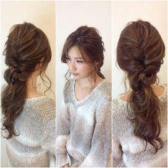 ゆるニットポニー  #hair #hairarrange #横浜 #ヘアアレンジ #bridal #ゆるふわ #makeup #あみこみ #haircoucou #アンニュイヘア#ゆるニット #神4コンテスト