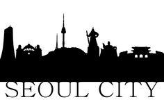 서울 스카이라인(Seoul skyline, Korea) Seoul Skyline, Sign Fonts, Silhouette Vector, Pictogram, Pictures Images, Travel Posters, Signage, Tatoos, Korea