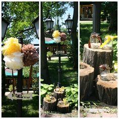 Szabadtéri esküvői dekoráció farönkökkel, pompomokkal, gyertyákkal - Garden wedding decoration with logs, pompom and candles