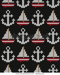 Find Knitted Marine Seamless Pattern stock images in HD and millions of other royalty-free stock photos, illustrations and vectors in the Shutterstock collection. Tapestry Crochet Patterns, Fair Isle Knitting Patterns, Knitting Charts, Knitting Stitches, Knit Patterns, Cross Stitch Cards, Cross Stitching, Cross Stitch Embroidery, Crochet Cross