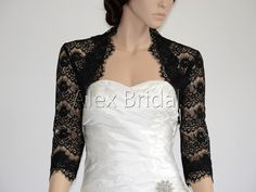 I wouldn't wear black for my wedding but this is so pretty! 3/4 sleeve black lace bolero wedding jacket on Etsy, $49.99
