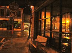 Sewickley Starbucks bench by rocksatheart, via Flickr with the Penguin Bookshop across the street.