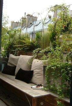 Balkonbepflanzung - Even if you just have a little bench, its a nice place to rest and take in some nature Balcony Plants, Patio Plants, Balcony Door, Tiny Balcony, Balcony Railing, Balcony Ideas, Patio Ideas, House Plants, Small Terrace