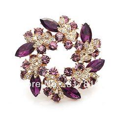 vergoldet lila strass kristall strass blatt design kranz partei brosche