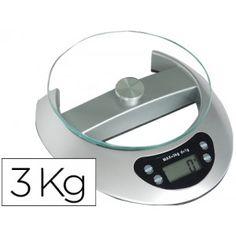 Bascula pesacartas con plataforma de cristal templado de 4 mm, capacidad de hasta 3 kg y graduación cada gramo, pantalla LCD.