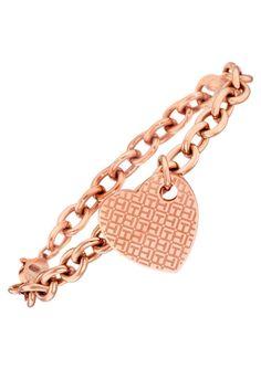 Tommy Hilfiger Jewelry Armband, »2700708, Classic Signature, Herz«.  Aus Edelstahl, roségoldfarben IP-beschichtet, mit Emaille, ca. 7 mm breit, ca. 20 cm lang.  Lieferung in einer TOMMY-HILFIGER-Verpackung....