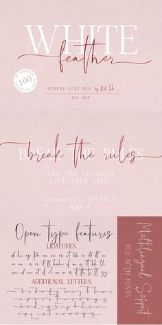 white feather is a beautiful high fashion font duo that. Text Tattoo, Tattoo Fonts, Free Fonts Download, Font Free, Free Calligraphy Fonts Download, Cursive Font Download, Free Script Fonts Download, Free Brush Script Font, Logo Fonts Free