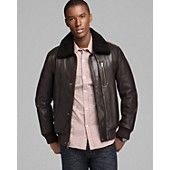 Andrew Marc Stewart Shearling Collar Leather Jacket