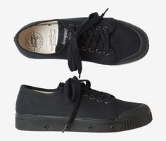 Classic canvas tennis shoe with vulcanised rubber sole for comfort. Established in the spring court was the first ever clay court tennis shoe. Leather Brogues, Leather Shoes, Clay Court Tennis Shoes, Black Canvas Shoes, Ankle Shoes, Plimsolls, Low Heels, All Black Sneakers, Spring