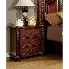 Furniture of America Ellianne Traditional Brown Cherry 3-Drawer Nightstand
