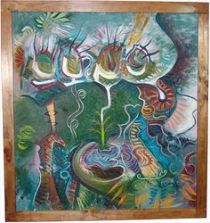 """The Garden. Mixed media on canvas, 30w"""" x 32h"""""""