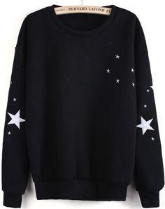 Sudadera bordado estrellas manga larga-Negro EUR€16.68