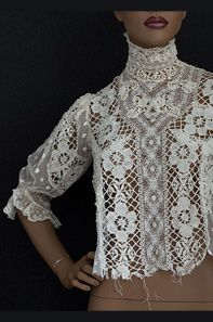 Mixed lace blouse, c.1905. Fine period laces combined with with panels of embroidered tulle.