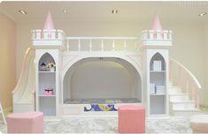 Luxury little Girl Princess Castle Bunk Bed - VMC Creative Designs Princess Bunk Beds, Princess Castle Bed, Princess Room, Princess Beds For Girls, Beds For Kids Girls, Bunk Beds For Girls Room, Bunk Bed With Slide, Girls Room Organization, Creative Kids Rooms