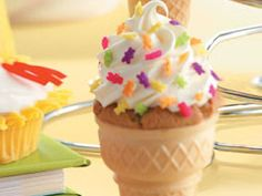 Bake cupcake batter right in ice-cream cones for cute kid's birthday party desserts. Bonus: No drips!