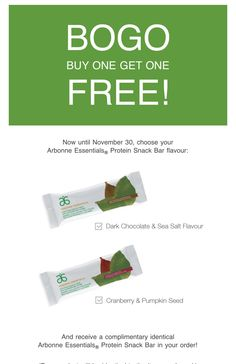 Buy one protein bar package get second  identical bar package for FREE!!!! Now until the end of November😊